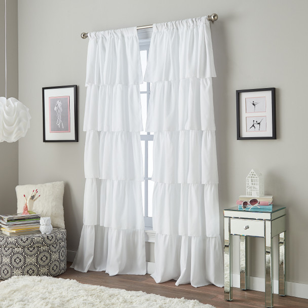 Flounced Pole Top Curtain~White*1Q82460