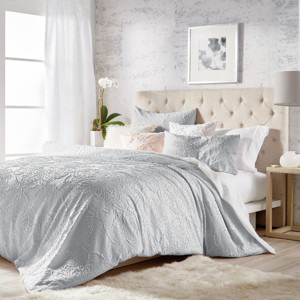Solid Medallion Microsculpt Comforter Set~Grey*2A8645C