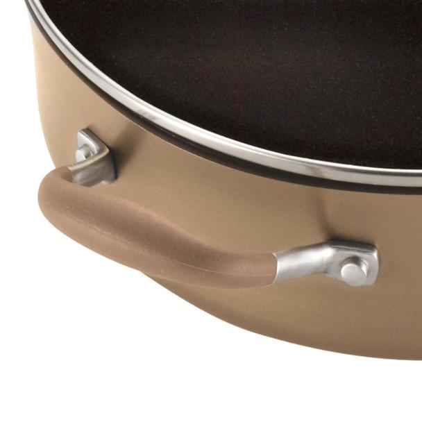Anolon Advanced Bronze Hard-Anodized Nonstick 4-Quart Covered Sauté Pan with Pour Spouts and Helper Handle~83491