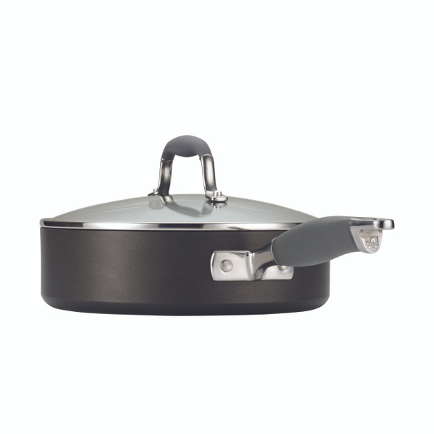 Anolon Advanced Hard-Anodized Nonstick 4-Quart Covered Sauté Pan with Pour Spouts and Helper Handle - Gray~83528