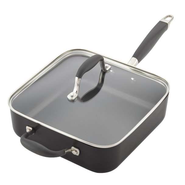 Anolon Advanced Hard-Anodized Nonstick 4-Quart Covered Square Sauté Pan with Helper Handle - Graphite~83862