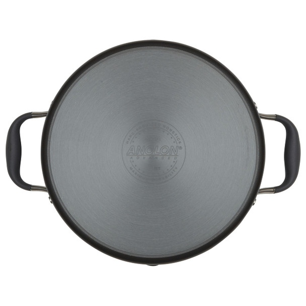 Anolon Advanced Hard-Anodized Nonstick 6-Quart Covered Stock Pot with Locking Straining Lid - Graphite~83824