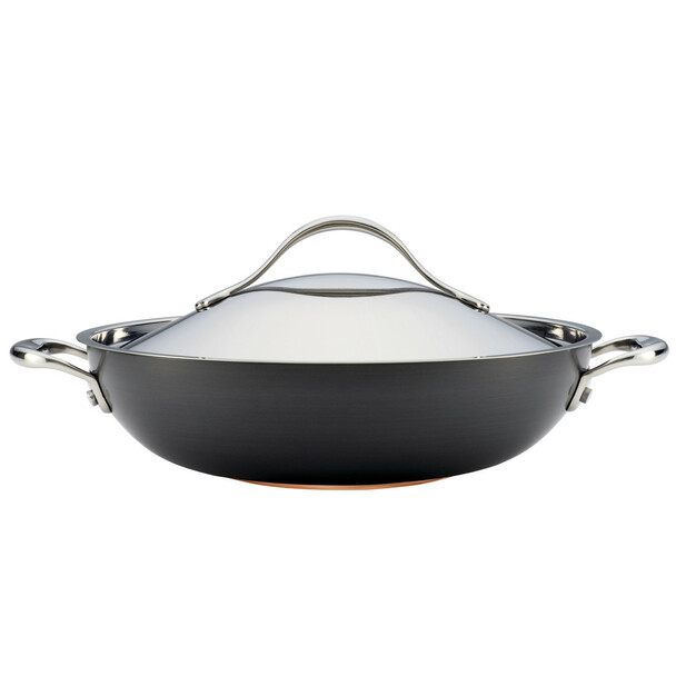Anolon Nouvelle Copper Hard-Anodized Nonstick 12-inch Covered Wok - Dark Gray~82945