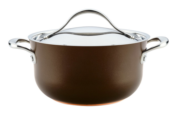 Anolon Nouvelle Copper Luxe Hard-Anodized Nonstick 4-Quart Casserole - Sable~83857