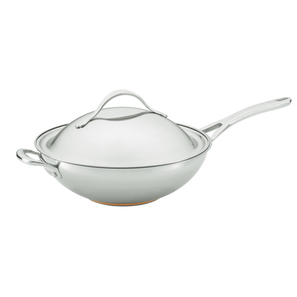 Anolon Nouvelle Copper Stainless Steel 12-inch Covered Stir Fry Pan with Helper Handle~77272