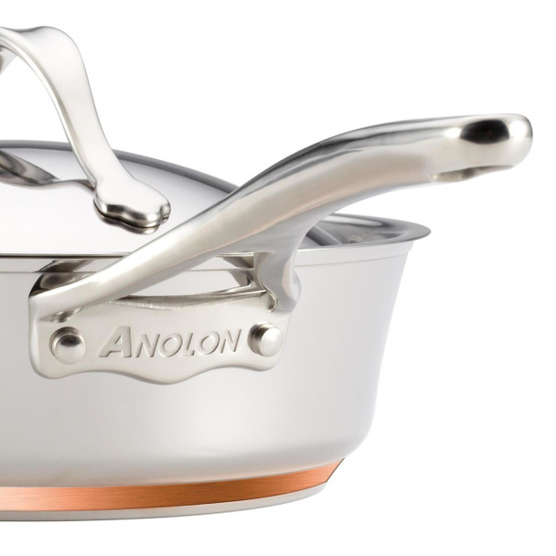 Anolon Nouvelle Copper Stainless Steel 3-Quart Covered Sauté Pan with Helper Handle~75853