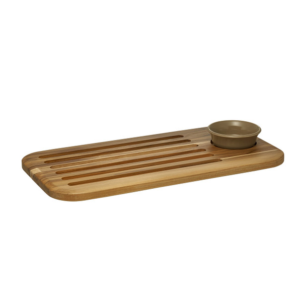 Anolon Pantryware 2-Piece Teak Wood Bread Board and Stoneware Dipping Dish Set~47049