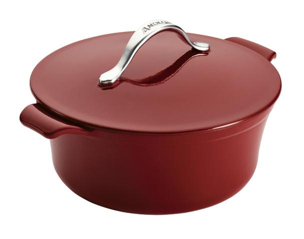 Anolon Vesta Cast Iron Cookware 5-Quart Round Covered Dutch Oven - Paprika Red~51820