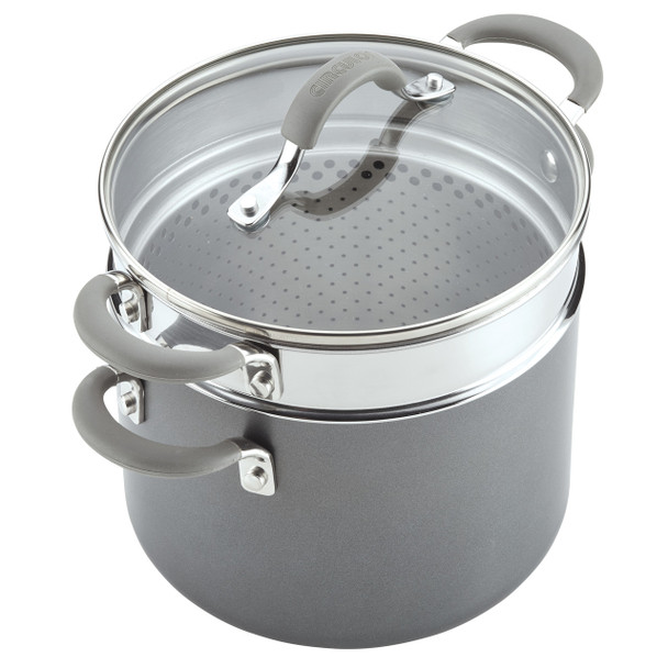 Circulon Elementum Hard-Anodized Nonstick 5-Quart Covered Multipot with Steamer Insert - Oyster Gray~84608