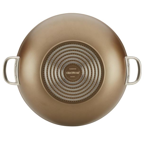 Circulon Ultimum Forged Aluminum Nonstick 13.75-inch Covered Wok - Nutmeg~13220
