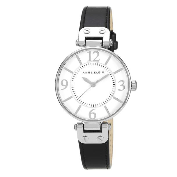 Anne Klein Modern Black Leather Strap Watch~10/9169WTBK