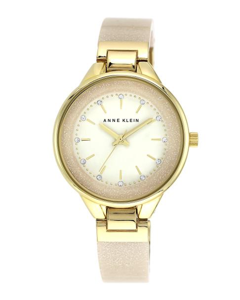 Anne Klein Women's Swarovski Crystal and Bangle Watch - Cream~AK/1408CRCR