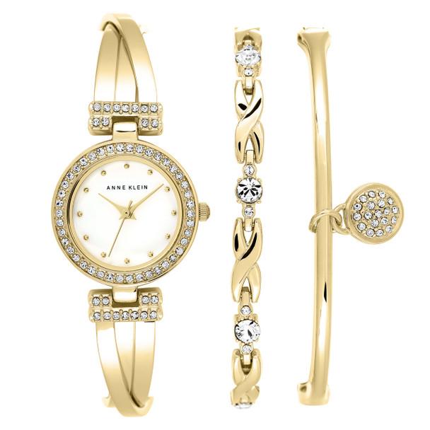 Anne Klein Women's Gold-Tone Crystal Bangle Watch Box Set~AK/1868GBST