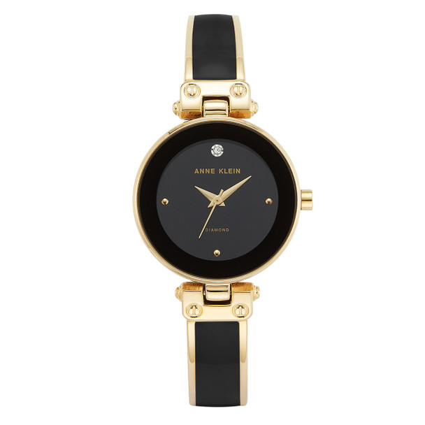 Anne Klein Women's Gold-Tone Diamond Dial Watch~AK/1980BKGB