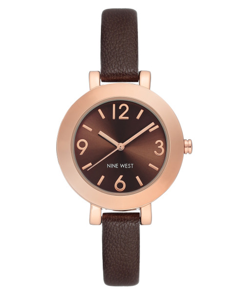 Nine West Women's Rose Gold-Tone Case with Brown Strap Watch~NW/1319RGGY
