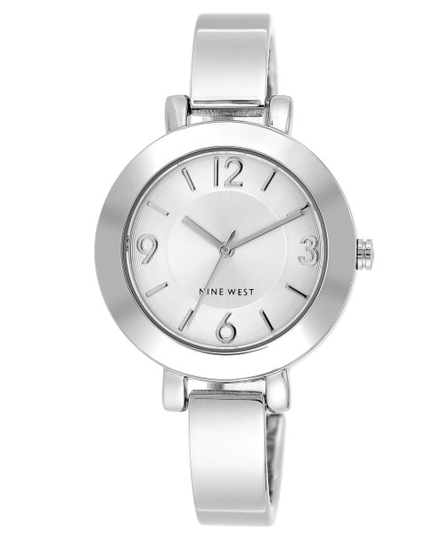 Nine West Women's Sunray Dial Silver-Tone Bangle Watch~NW/1631SVSB