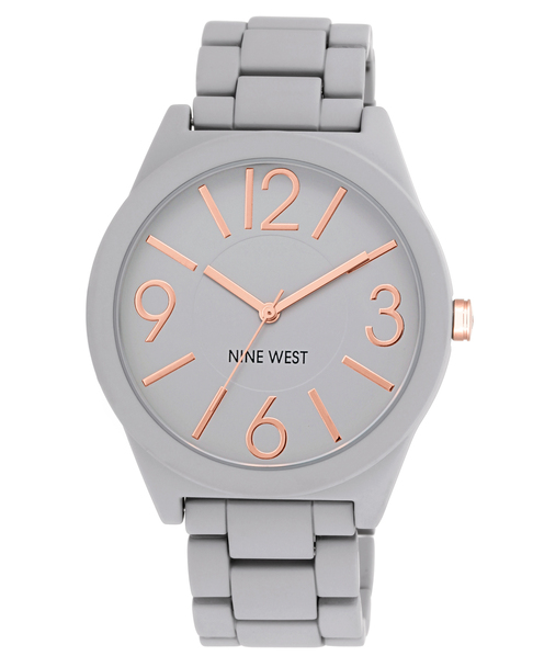 Nine West Women's Gray Textured Bracelet Watch~NW/1678GYRG