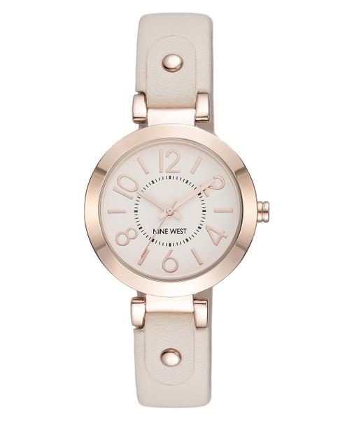 Nine West Women's Gold-Tone Case Blush Pink Strap Watch~NW/1712PKRG