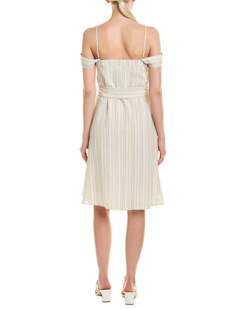 LUMIERE Cold-Shoulder Linen-Blend Midi Dress~1411203933