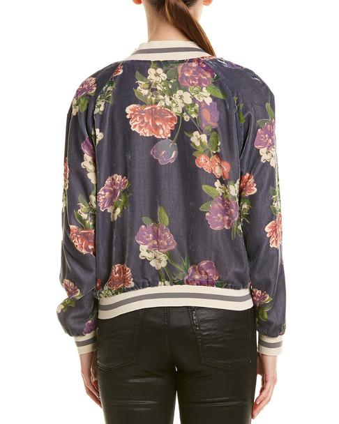 Lavender Brown Floral Print Jacket~1411916316