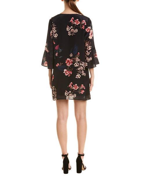 Lavender Brown Floral Silk Shift Dress~1411916319