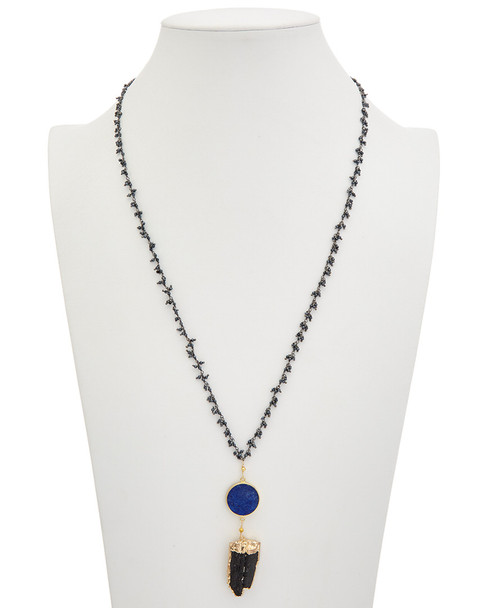 Alanna Bess 18K Over Gold & Silver Gemstone 32in Necklace~60301499110000