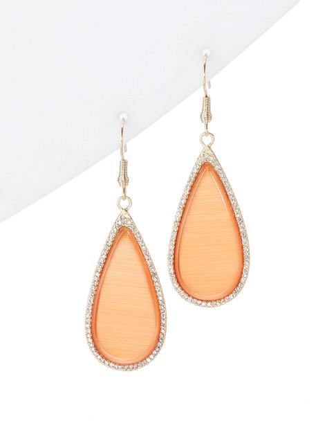 Rivka Friedman 18K Clad Cat's Eye & Simulated Diamond Drop Earrings~60200099050000