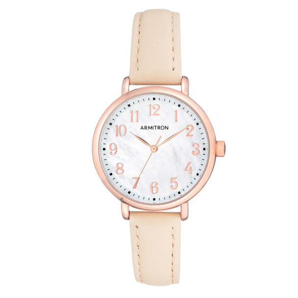 Armitron Ladies' Rose Gold-Tone Leather Strap Watch