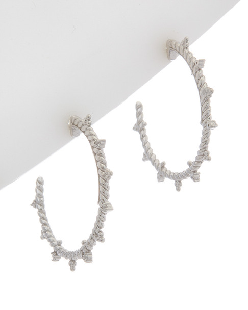 Judith Ripka La Petite Silver 0.10 ct. tw. White Topaz Hoops~60300578730000