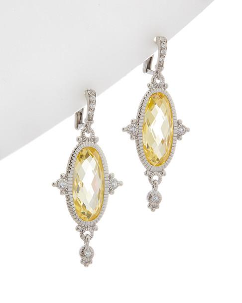 Judith Ripka Arielle Silver 36.93 ct. tw. White Sapphire CZ Earrings~60301310060000