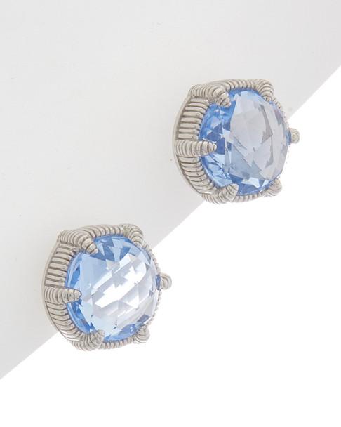 Judith Ripka Eclipse Silver 8.80 ct. tw. Blue Quartz Studs~60301310280000