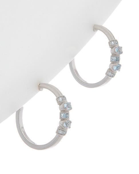 Judith Ripka Mardi Gras Silver 1.88 ct. tw. Top Sky Blue Topaz Hoops~60301310660000