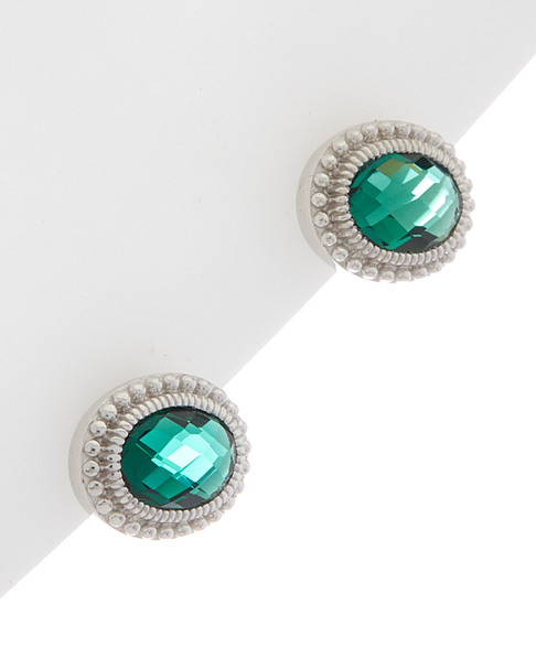 Judith Ripka Sanibel Silver 1.35 ct. tw. Green Quartz Studs~60301310730000