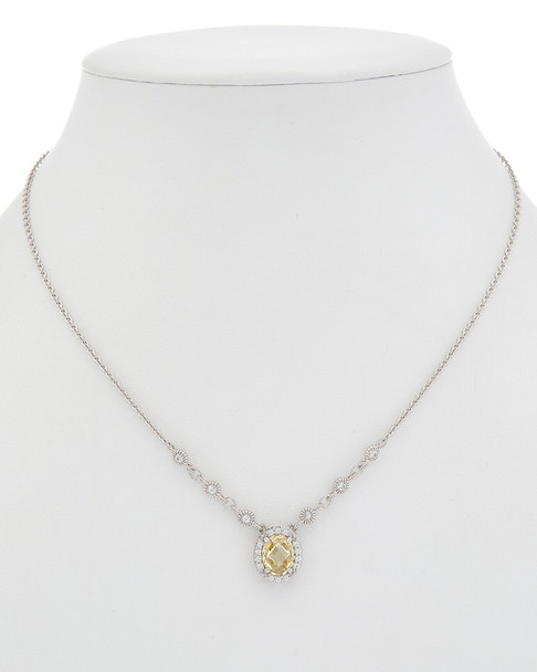 Judith Ripka Legacy Silver 5.19 ct. tw. White Sapphire & CZ Necklace~60309649830000