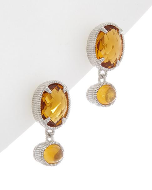 Judith Ripka Mardi Gras Silver 4.23 ct. tw. Citrine Earrings~60309930250000