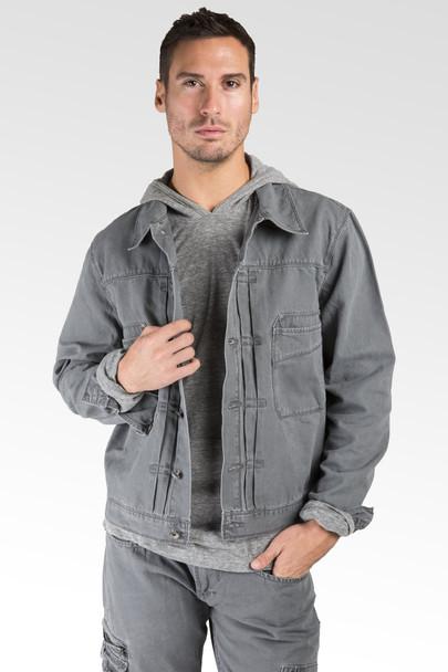 Level 7 Men's Heavy Wash Canvas Trucker Jacket~LV126082-CHARCOAL