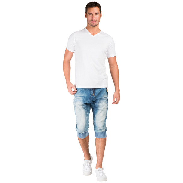 "Level 7 Men's Medium Clouded Blue Premium Knit Denim 18"" Jogger Capri with Rib Bottom and 3D Whiskering~LV151551-1611CLOUDED"