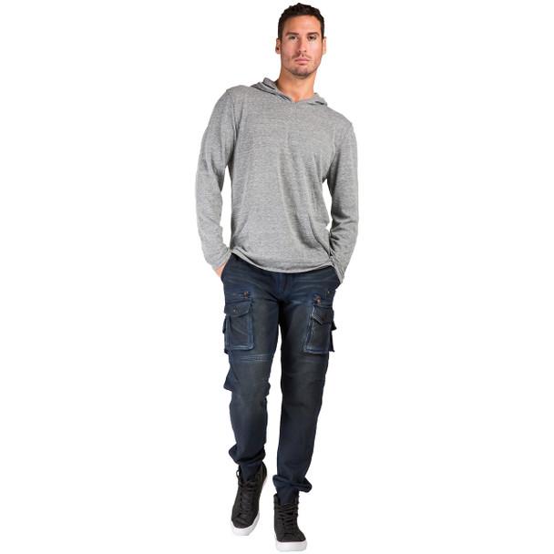 Level 7 Men's Midnight Vintage Premium Knit Denim Jogger Jeans with Utility Cargo Zipper Pockets~LV141771-2296MIDNIGHT