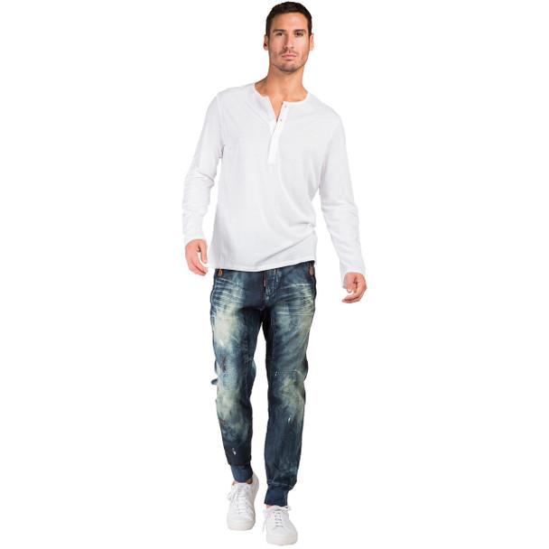 Level 7 Men's Premium Indigo Knit Denim Jogger Jeans with Twister Drop Crotch - Tainted Vintage~LV141543-1895STRIKER
