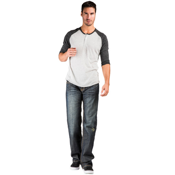 Level 7 Men's Relaxed Straight Dark Vintage Premium Denim Bootcut Jeans with Zipper Pockets~LV105178-962DDVIN