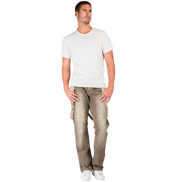 Level 7 Men's Relaxed Straight Premium Canvas Welder Distressed Jeans with Suspender Panel Pocket~LV136531-1734PUMMELE