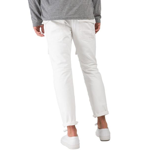 Level 7 Men's Slim Straight Premium White Denim Distressed Front Cargo Pocket Jeans~LV176558-3043SNOWMAN