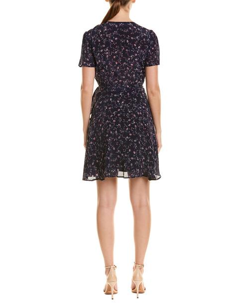 Lavender Brown Floral Wrap A-Line Dress~1411297108