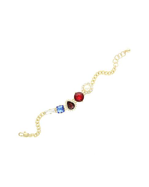 Sparkling Sage 14K Plated Crystal & Resin Link Bracelet~60305227980000