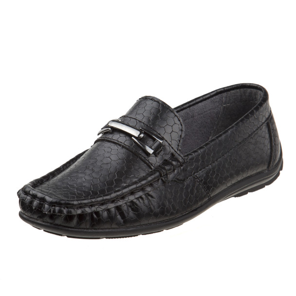 Boys' Loafer with Metal Accent~Black Snake*O-19119B