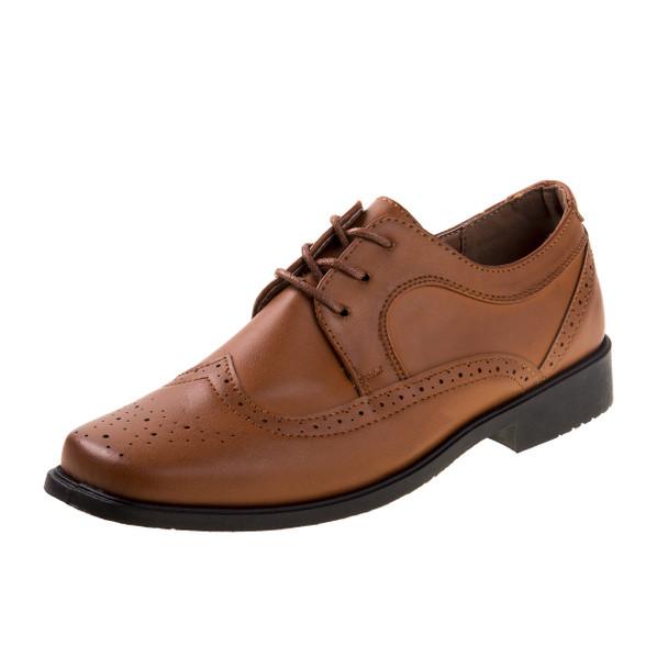 13-6 Boys' Lace-Up Dress Shoes~Tan*O-31801C