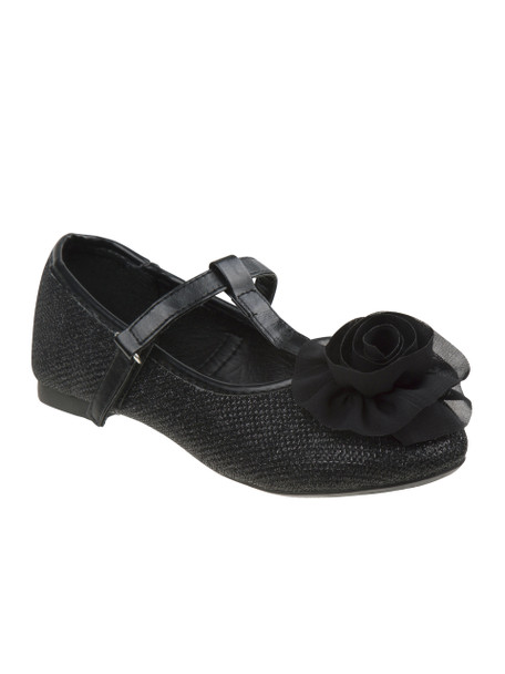 Josmo Girls' Glitter Flower Ballerinas~Black*O-81468N