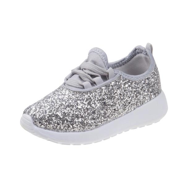 Laura Ashley Glitter Sneakers for Toddler Girls~Silver Glitter *O-LA81207C