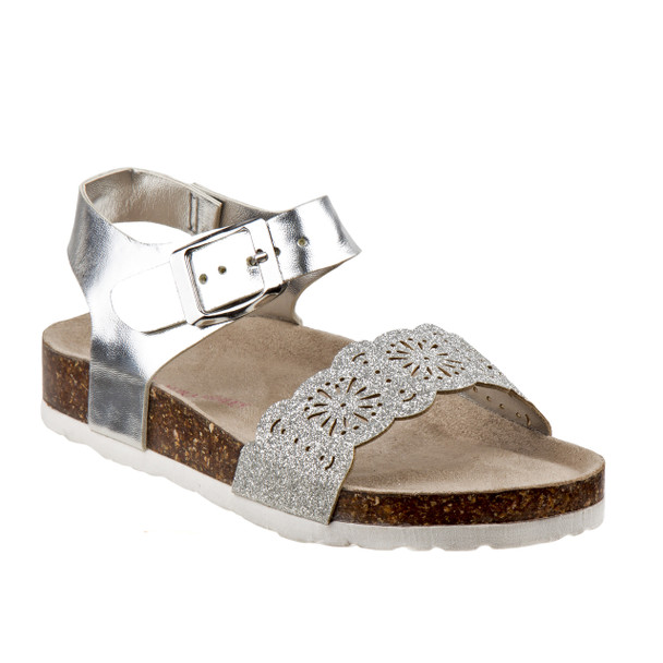 Laura Ashley Glitter Sandals for Toddler Girls~Silver*O-LA81223S
