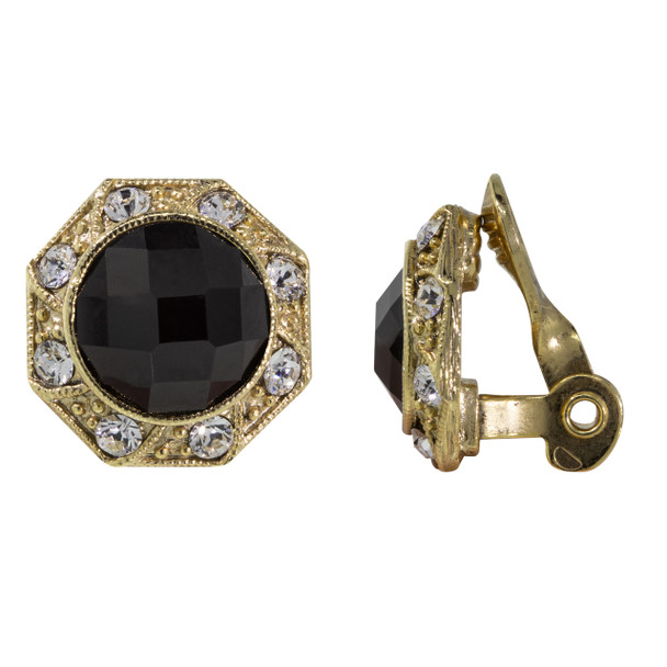 Gold Tone/Black Faceted Crystal Round Button Clip Earring~78374